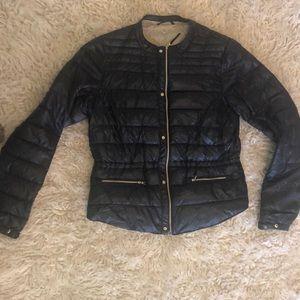 Lightweight, navy blue, synthetic puffer jacket